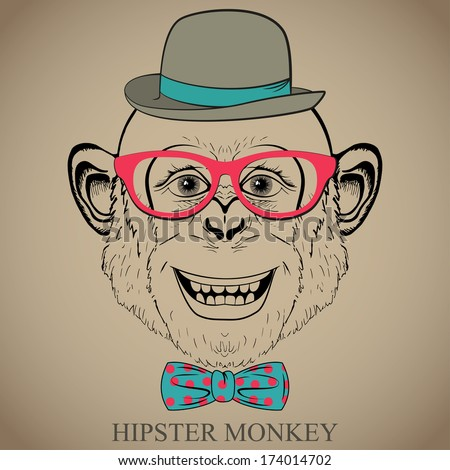 Fashion Hand Drawing Illustration of Monkey in Glasses, Bow Tie and Bowler Hat. Hipster look. Retro vintage style.  Doodle style. Vector - stock vector