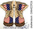 Fashion hand drawn boots in military style with USA flag - stock vector