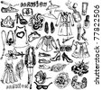 Fashion hand drawn doodle set - stock photo