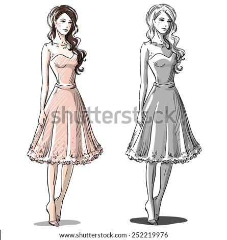 Fashion hand drawn illustration. Vector sketch.  - stock vector