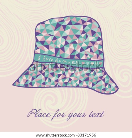 fashion hat made of triangles fabric, I love summer hat. - stock vector