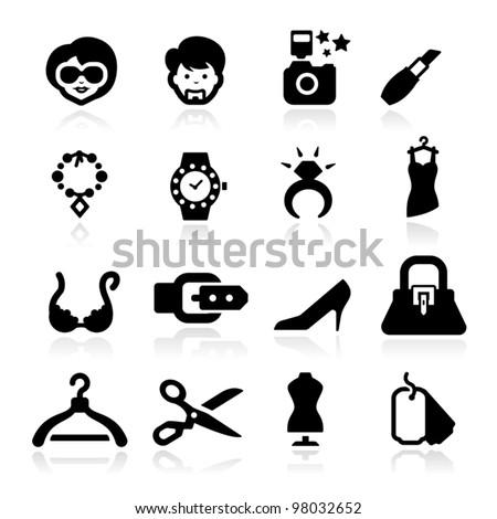 Fashion icons set elegant series - stock vector