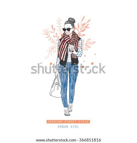 Fashion illustration girl. - stock vector