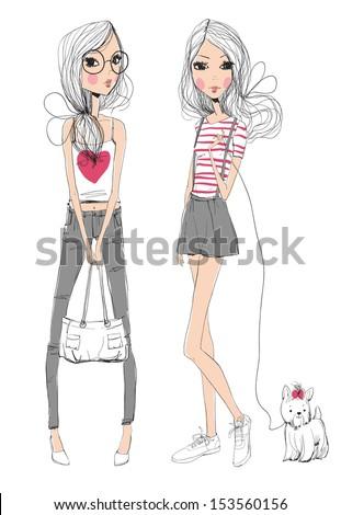 fashion illustration girls  - stock vector