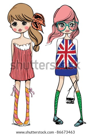 fashion illustration girls - stock vector