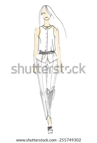 Fashion illustration, hand-drawn sketch of model on runway, vector picture. - stock vector