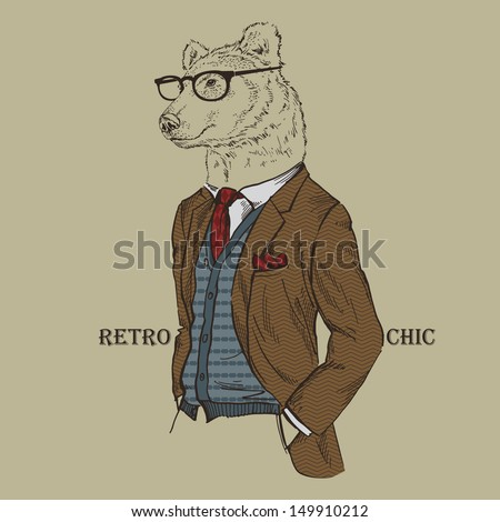 Fashion Illustration of Bear dressed in Vintage Style, Retro Chic, Vector Image - stock vector