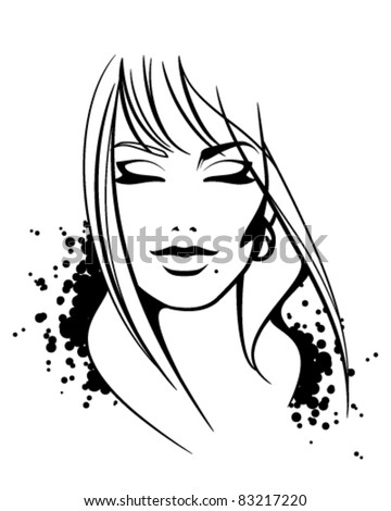 Fashion illustration of beautiful female face. Sketch. Vector without background - stock vector