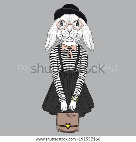 fashion illustration of bunny girl hipster - stock vector