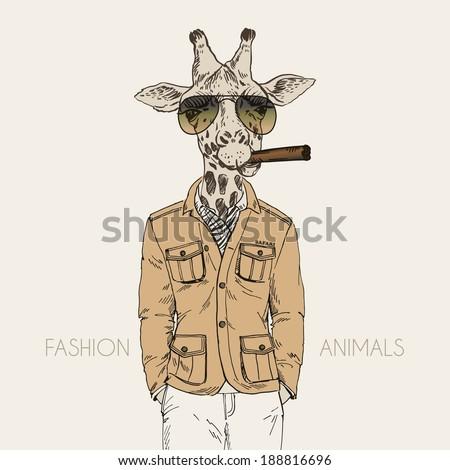 fashion illustration of giraffe dressed up in safari style  - stock vector