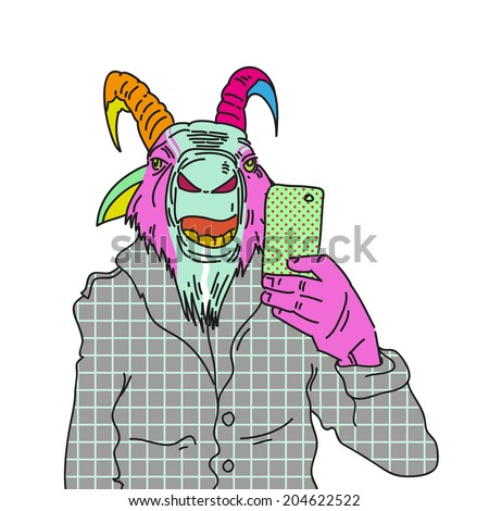 Fashion illustration of goat making photo with a smartphone - stock vector