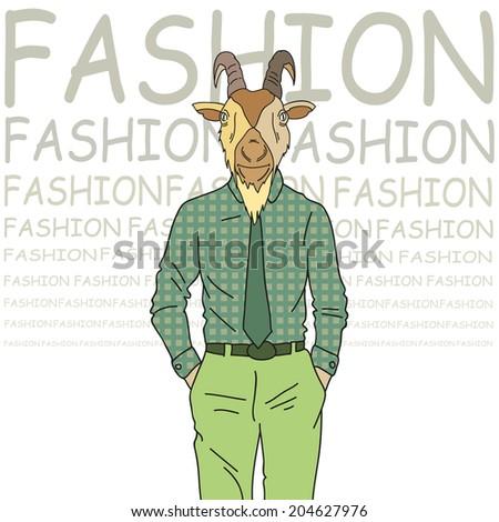 Fashion illustration of goat model - stock vector