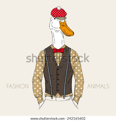 fashion illustration of goose dressed up in retro style - stock vector
