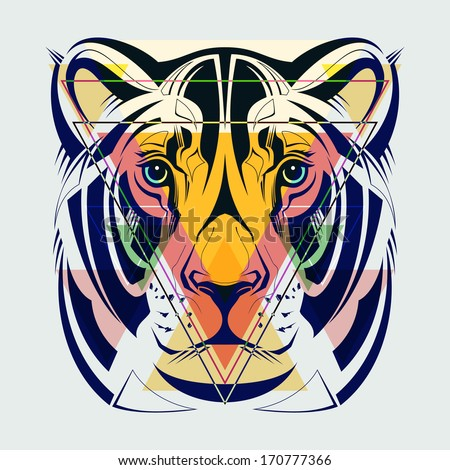 Fashion illustration of lioness head.  - stock vector