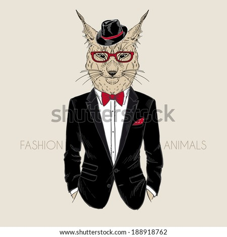 fashion illustration of lynx dressed up in tuxedo - stock vector