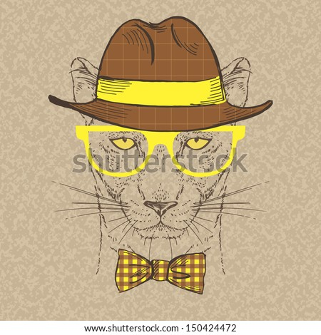 Fashion Illustration of Panther, Hipster Style, Vector Image - stock vector