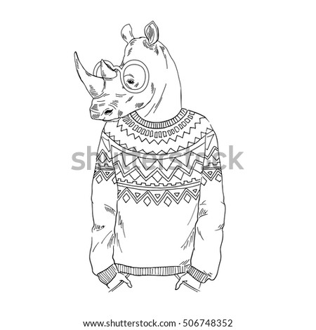 Fashion Illustration Of Rhino Dressed Up In Jacquard Pullover Hipster Animals Anthropomorphism