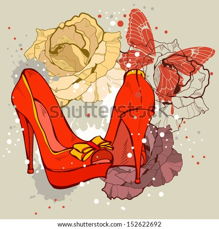 Fashion illustration of shoes and beauty of flowers - stock vector