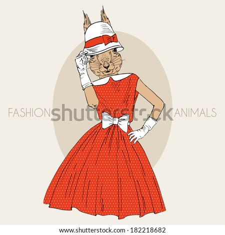 Fashion illustration of squirrel girl dressed up in retro style - stock vector