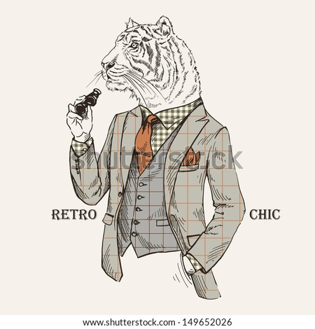 Fashion Illustration of Tiger dressed in Vintage Style, Retro Chic, Vector Image - stock vector