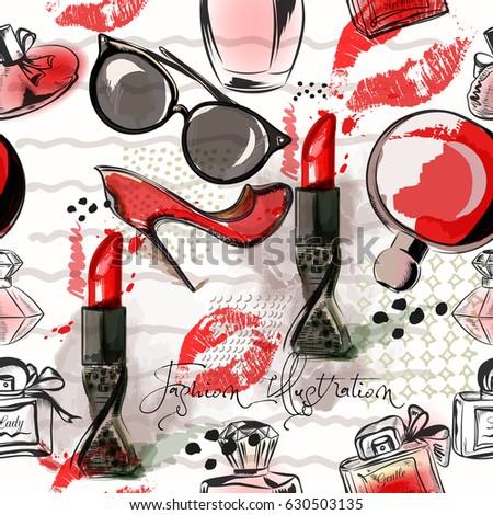 fashion illustration pattern red lipstick shoes stock