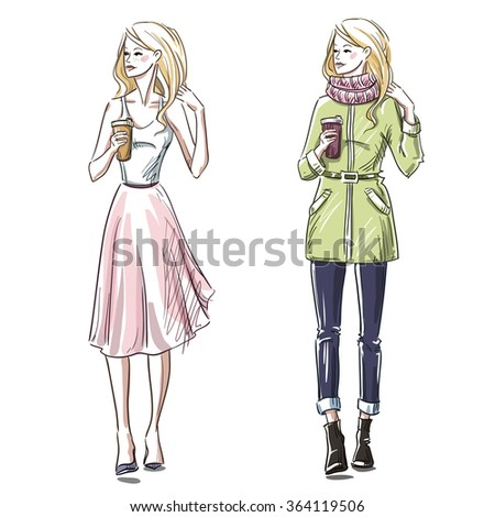 Beautiful Fashion Street Hip Hop Girl Stock Illustration