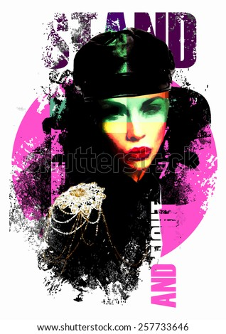 Fashion illustration with a lady in military style clothe - stock vector
