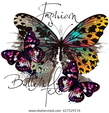 Fashion illustration with butterflies in colorful style
