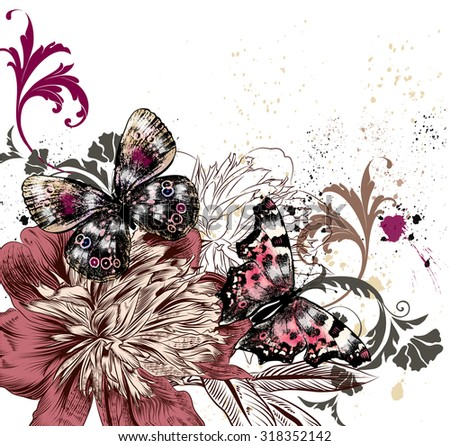 Fashion illustration with colorful butterflies and peony flowers, grunge style background - stock vector