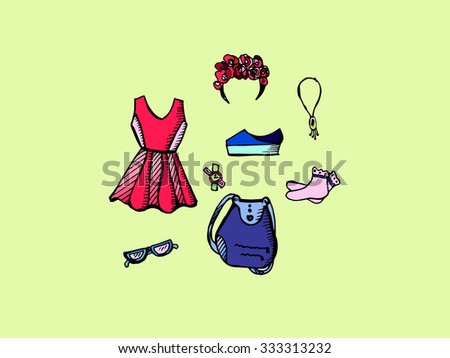 Fashion image of clothing and accessories .Vector - stock vector