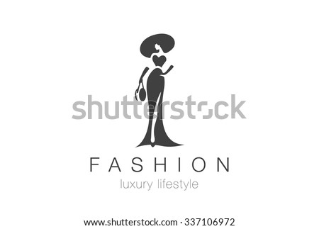 Fashion Luxury Glamour Elegant Woman silhouette Logo design vector template. Lady negative space jewelry accessories Logotype concept icon. - stock vector