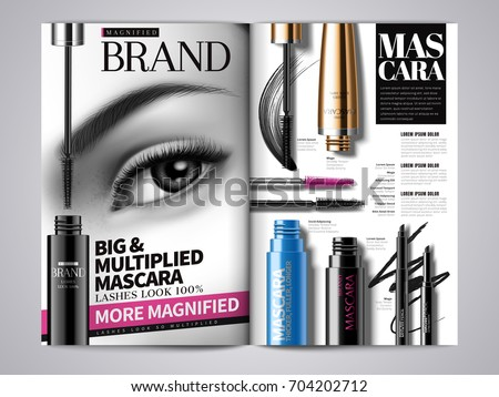 Fashion makeup magazine template, mascara product series report in magazine or catalog in 3d illustration, different product mockup design