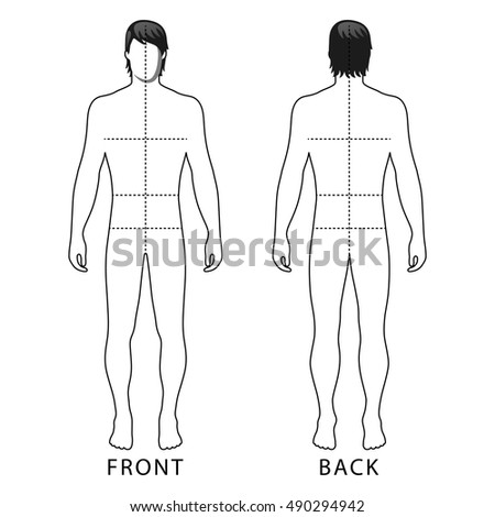 Fashion man full length outlined template figure silhouette with marked body's sizes lines (front & back view), vector illustration isolated on white background
