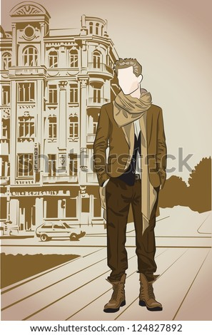 Fashion man on a street vintage background - stock vector