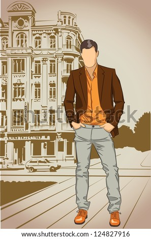 Fashion man on a street vintage background