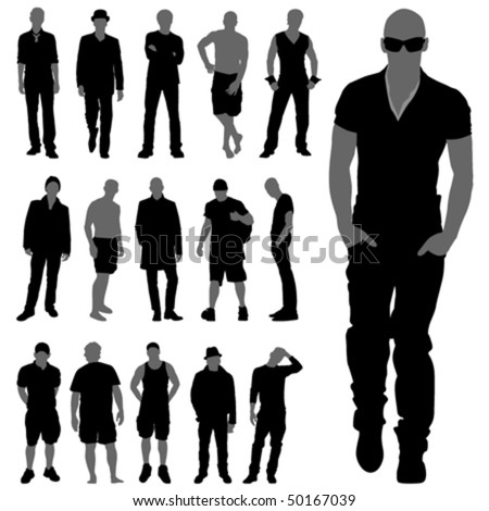 fashion man silhouettes - stock vector