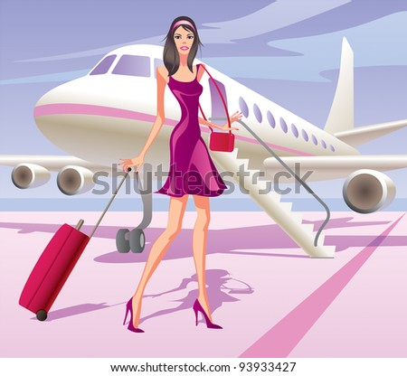 Fashion model is traveling by aircraft - vector illustration - stock vector