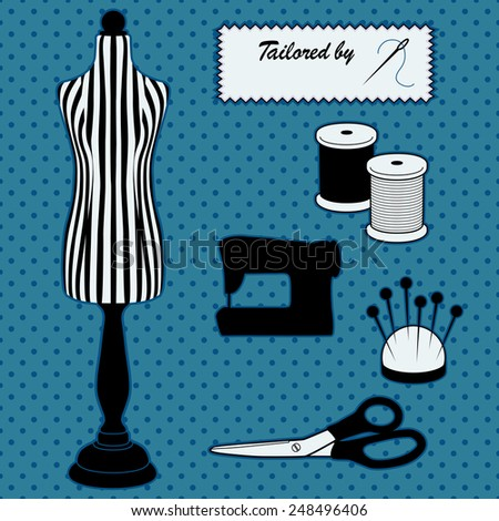 Fashion model mannequin in black and white stripes, DIY tailoring tools, sewing machine, Tailored by label, needle, thread, pincushion, scissors, Polka dot design on blue background. EPS8 compatible. - stock vector