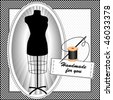 Fashion model mannequin, needle, thread, black and white gingham check frame, polka dot background, tailor's dress form in black, Handmade for you sewing label with copy space. EPS8 compatible. - stock vector