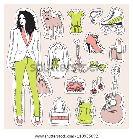 Fashion model office girl with guitar and dog pattern crafty illustration in vector - stock vector