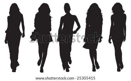 fashion model silhouettes - stock vector