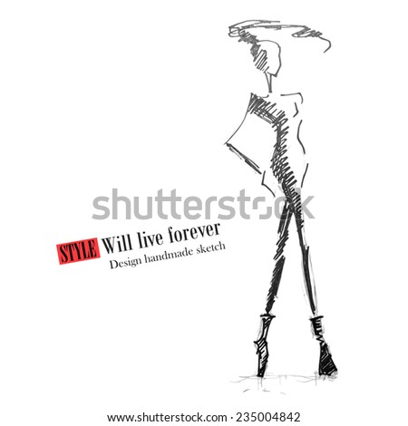 Fashion model. Sketch silhouette. Vector handmade draw model. Vector fashion style. Fashion background. Vintage style background. Business fashion style. Casual style. Grunge sketch. - stock vector