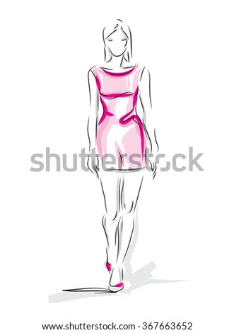 Fashion model.vector illustration - stock vector