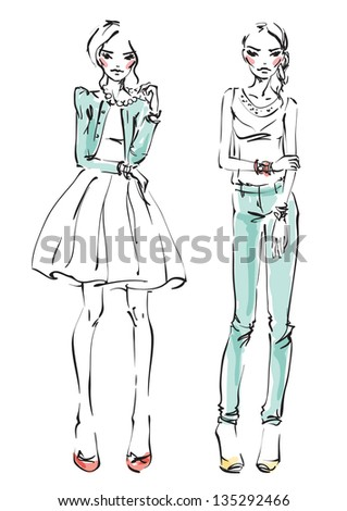 Fashion models - stock vector