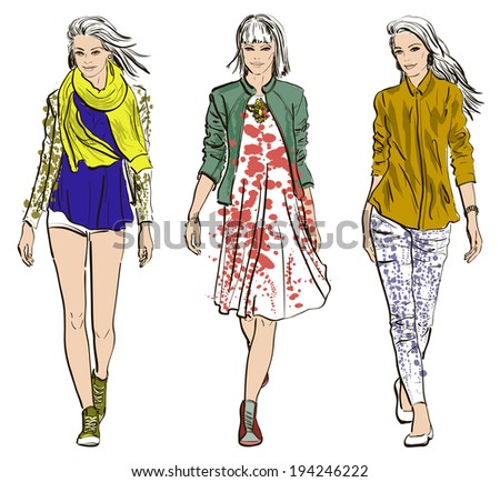Fashion models - stock vector