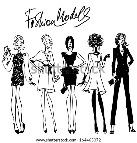 Fashion models. Hand drawn vector sketching Part 2. - stock vector