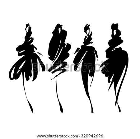 Fashion models sketch hand drawn  , stylized silhouettes isolated on white. Vector fashion illustration set. - stock vector