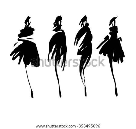 Fashion Silhouettes Hand Drawn Sketch Stock Vector ...