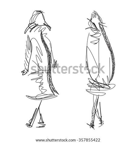 Fashion models. Sketch. Vector illustration - stock vector