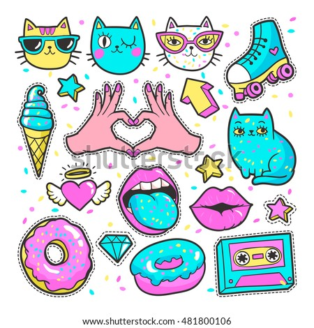 Fashion patch badges with lips, hearts,cats, stars and other elements for girls. Vector illustration isolated on white background. Set of stickers, pins, patches in cartoon 80s-90s comic style.